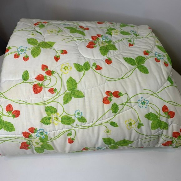 vintage comforter full cannon white strawberry pri